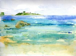 Gaios beach watercolour
