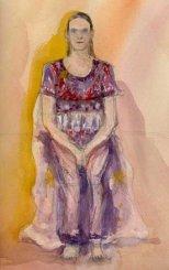 Girl seated in dress