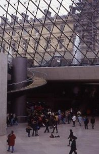 Inside the Louvre entrance pyramid