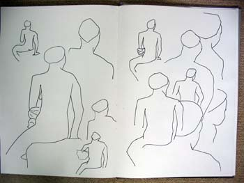 Series of seated nude drawings