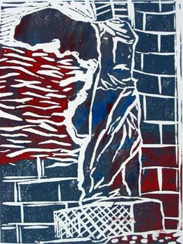 Winged statue of Samothrace (Red and blue)