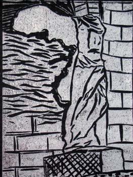 Winged statue of Samothrace (White on black)