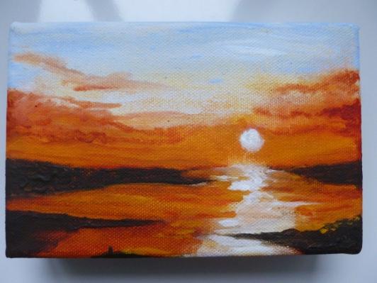 "Sunset (Acrylic on block canvas 6"" x 4"")"
